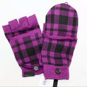 Coach Wool plaid mittens. Purple Fingerless Gloves